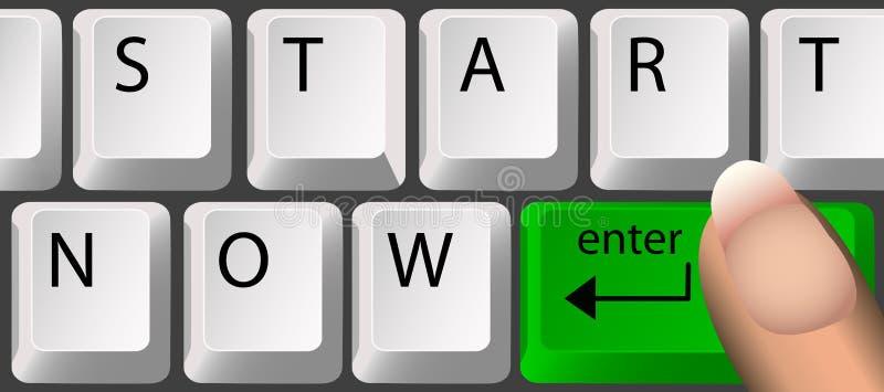 COMECE AGORA, teclado ilustração royalty free
