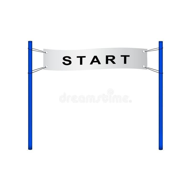 Comece a bandeira no projeto retro ilustração do vetor