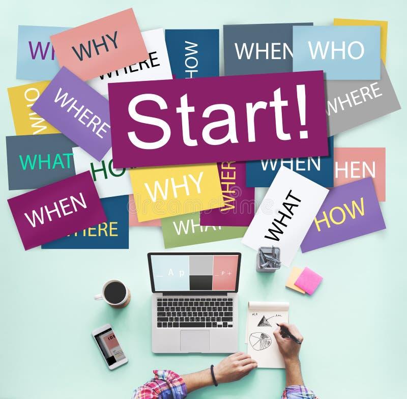 Comece começar o conceito Startup da motivação do lançamento para a frente imagens de stock royalty free