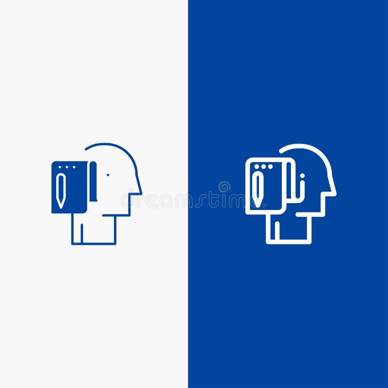 Comece, comece do ícone contínuo azul da linha e do Glyph de bandeira do ícone contínuo a partir do zero, da lista, da nota, da l ilustração do vetor