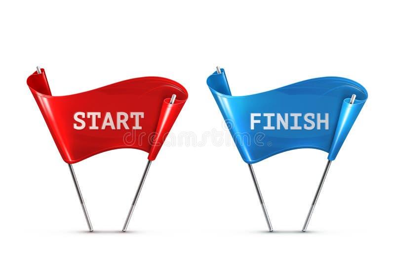 Comece e termine bandeiras ilustração stock