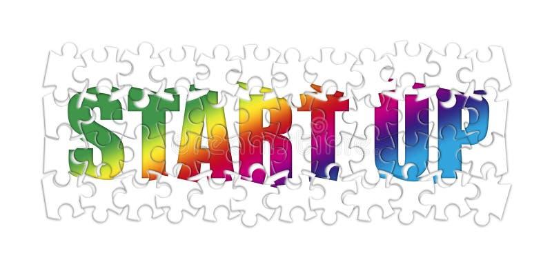 Comece a imagem acima colorida do conceito na forma do enigma ilustração royalty free