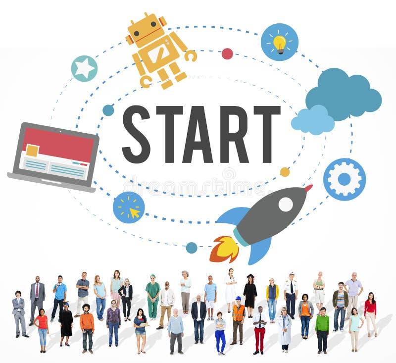Comece o conceito do começo da estratégia do sucesso da missão imagem de stock royalty free