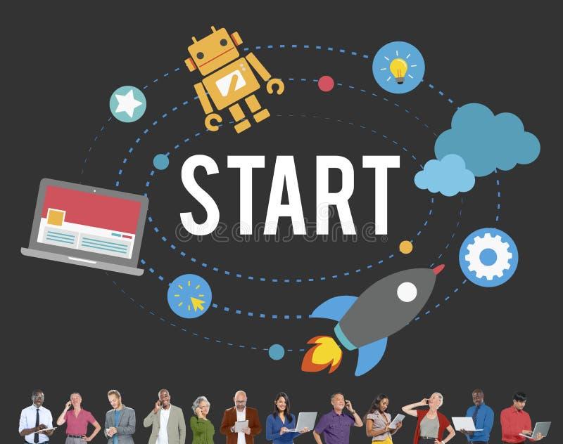 Comece o conceito do começo da estratégia do sucesso da missão ilustração stock
