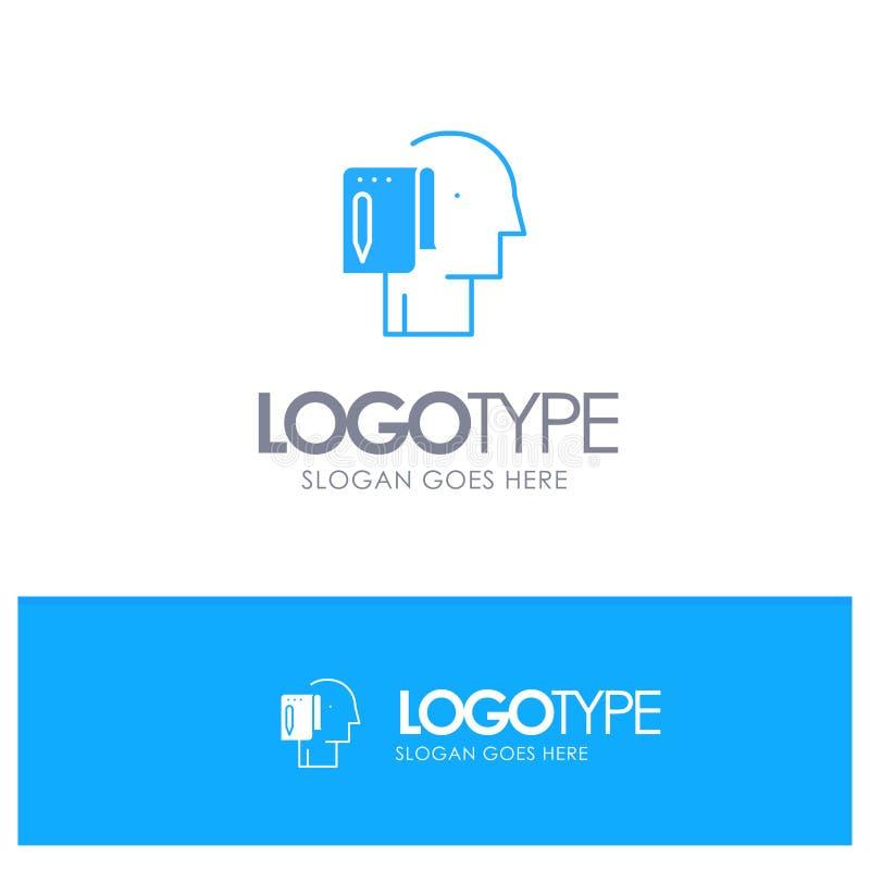 Comece, comece a partir do zero, lista, nota, logotipo contínuo azul do começo com lugar para o tagline ilustração royalty free