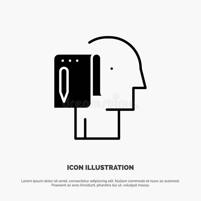 Comece, comece a partir do zero, lista, nota, vetor contínuo do ícone do Glyph do começo ilustração stock