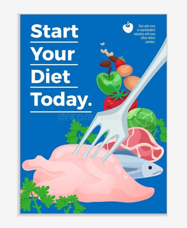 Comece seu cartaz liso da dieta ilustração do vetor