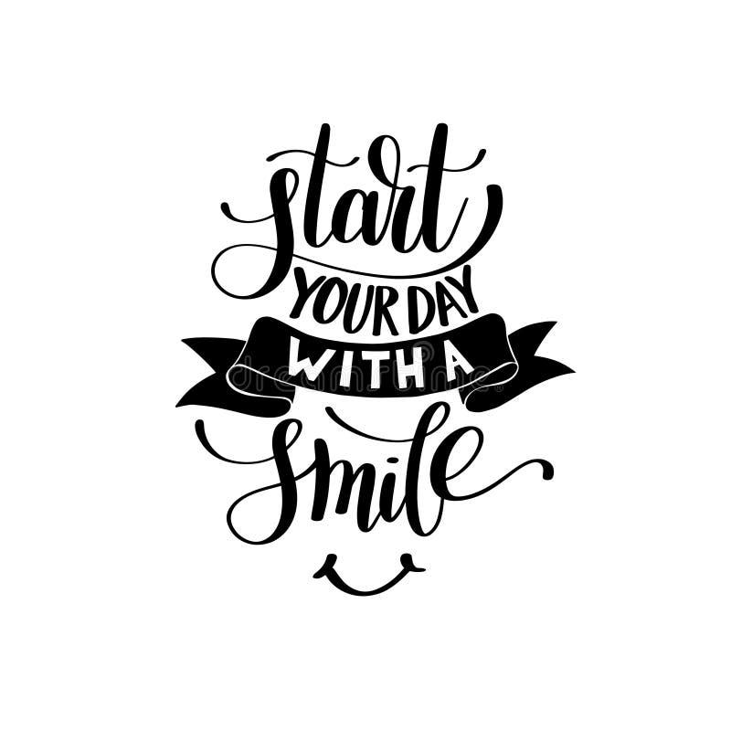 Comece seu dia com uma ilustração da frase do texto do vetor do sorriso ilustração royalty free