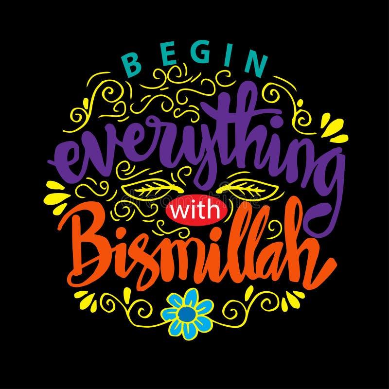 Comece tudo com o Bismillah ilustração royalty free