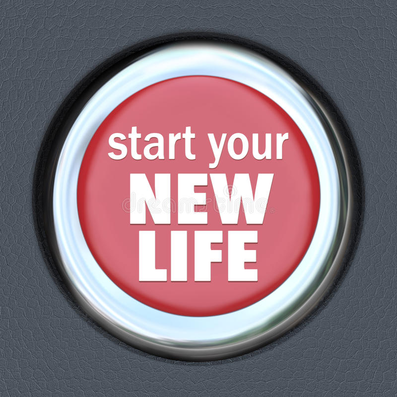 Comece um começo novo da restauração da imprensa do botão vermelho da vida ilustração royalty free