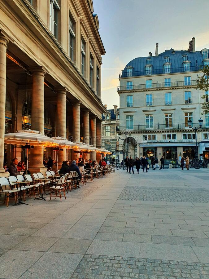 Comedie francaise, public square in the center of Paris, France stock photo