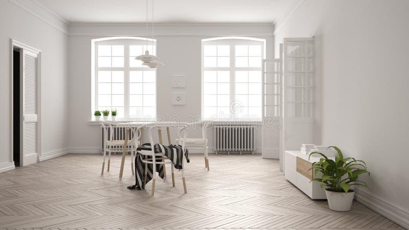 Comedor blanco escandinavo, piso de entarimado de madera de raspa de arenque, tabla y sillas, dos ventanas grandes, puerta y radi ilustración del vector