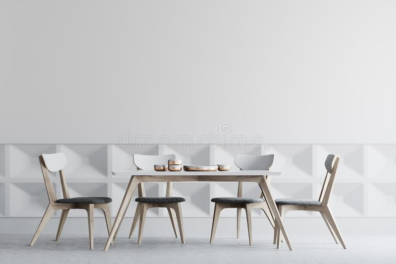 Comedor blanco interior, sillas de madera stock de ilustración