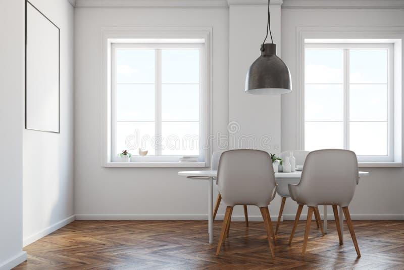 Comedor blanco, piso de madera, vista lateral del cartel ilustración del vector