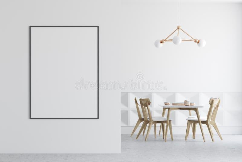 Comedor blanco, sillas de madera, cartel en la pared ilustración del vector