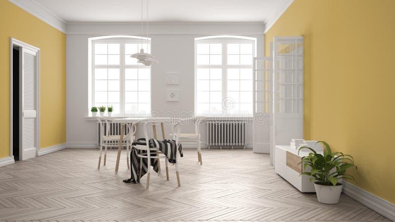 Comedor blanco y amarillo escandinavo, piso de entarimado de madera de raspa de arenque, tabla y sillas, ventanas, puerta y radia ilustración del vector