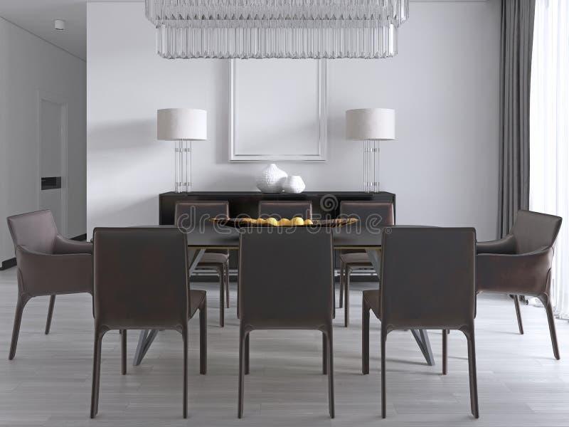 Comedor contemporáneo con una mesa de comedor rectangular grande con ocho sillas de cuero marrones y un aparador negro de la imag ilustración del vector