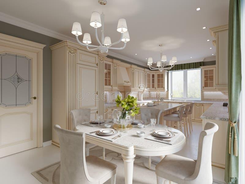 Comedor de lujo beige brillante con muebles clásicos elegantes y pared y cortina verdes olivas libre illustration