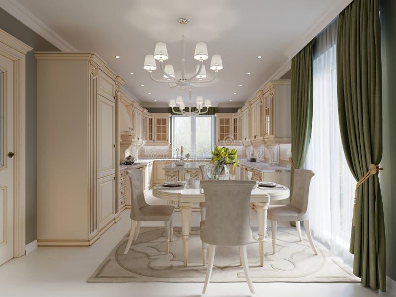 Comedor de lujo beige brillante con muebles clásicos elegantes y pared y cortina verdes olivas ilustración del vector
