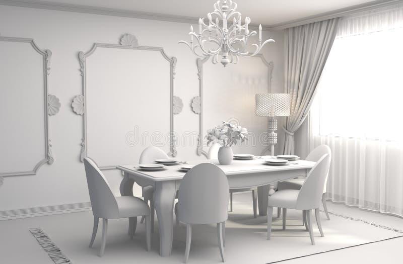 Comedor interior ilustración 3D stock de ilustración