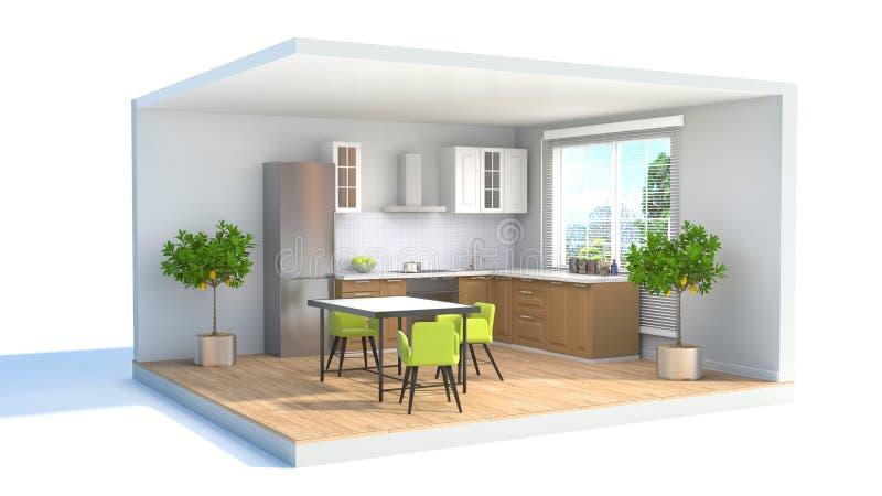 Comedor interior ilustración 3D ilustración del vector