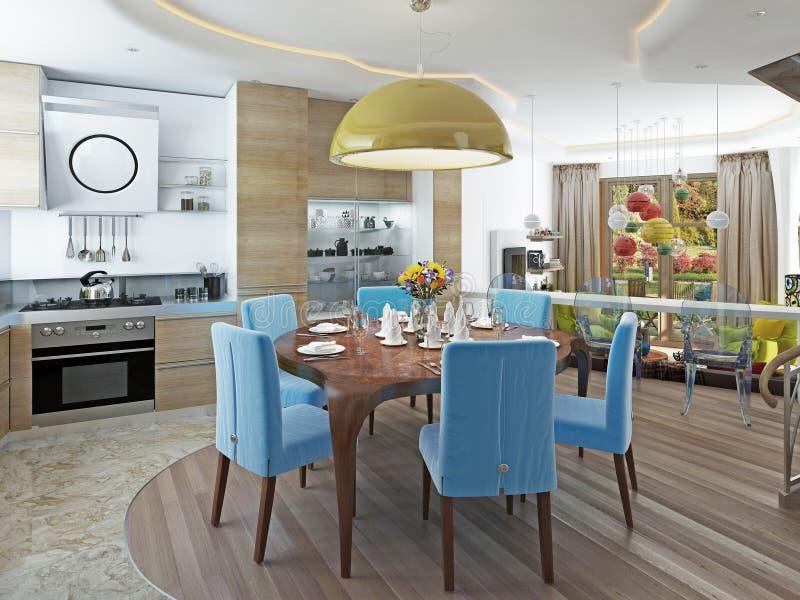 Comedor moderno con la cocina en un kitsch de moda del estilo ilustración del vector