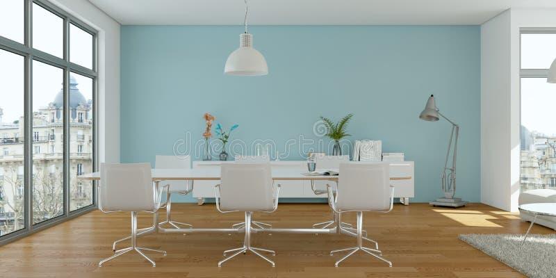 Comedor skandinavian brillante moderno del diseño interior ilustración del vector
