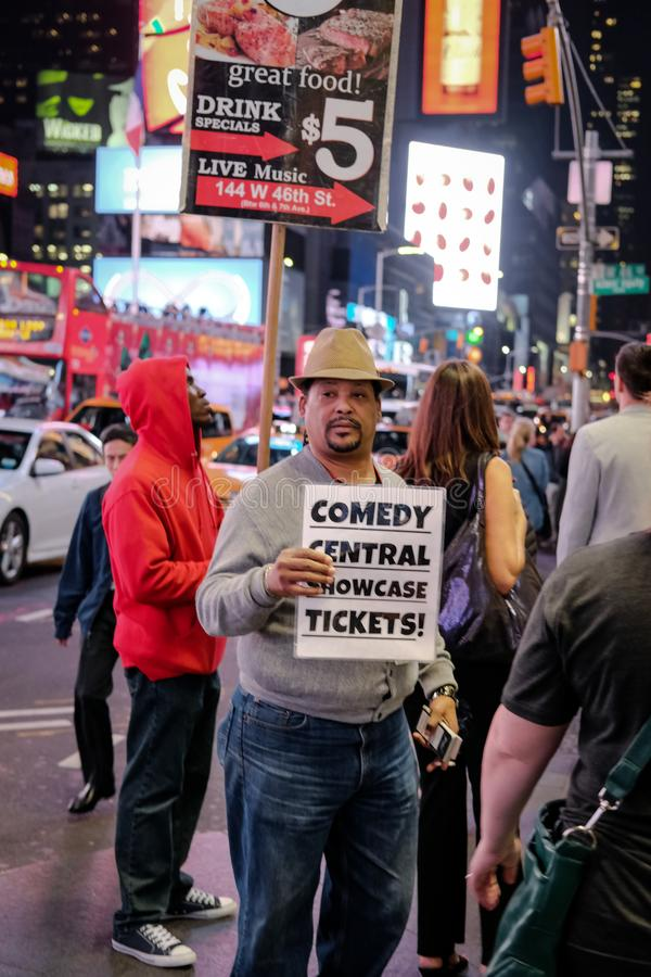 Comedy Central ticket seller seen in Times Square, NYC, USA. stock photos