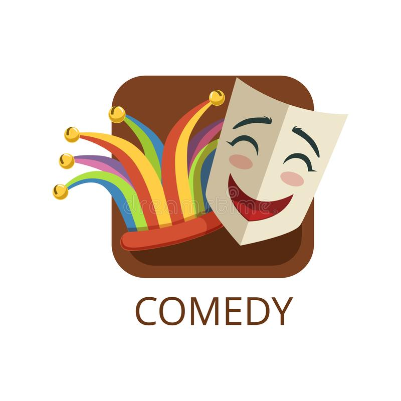 Comedy cinema or theatre genre, cinematography, movie production vector Illustration. On a white background royalty free illustration
