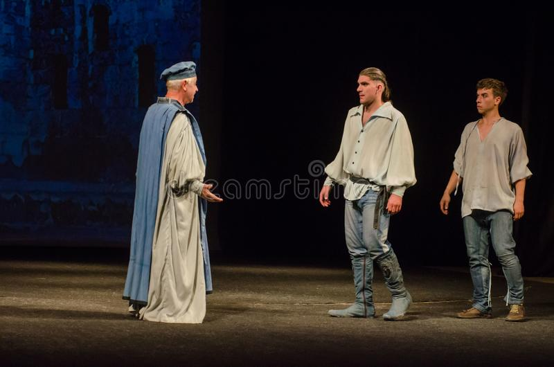 The Comedy of Errors. DNIPRO, UKRAINE - SEPTEMBER 30, 2017: The Comedy of Errors by William Shakespeare performed by members of the Chernihiv Regional Academic royalty free stock photo