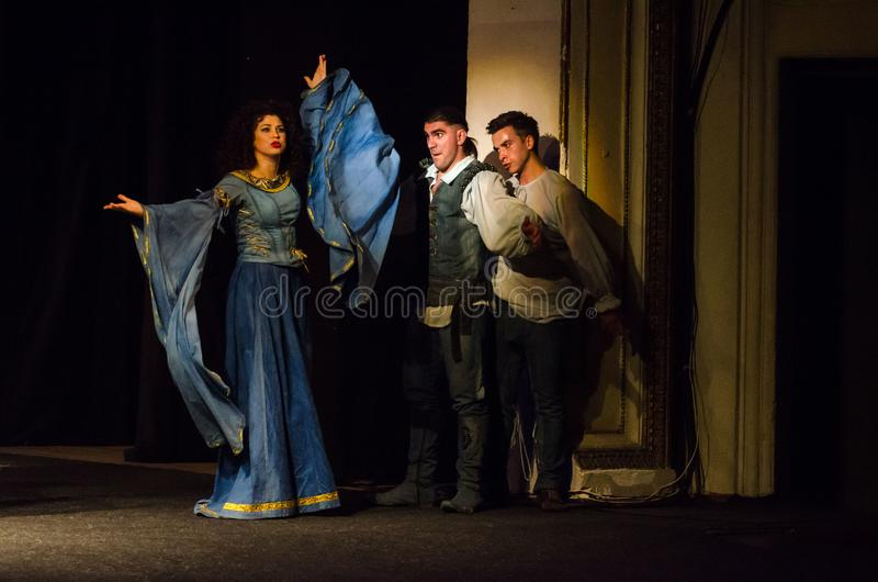 The Comedy of Errors. DNIPRO, UKRAINE - SEPTEMBER 30, 2017: The Comedy of Errors by William Shakespeare performed by members of the Chernihiv Regional Academic royalty free stock photography