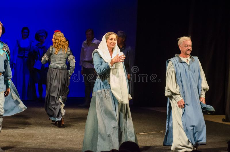 The Comedy of Errors. DNIPRO, UKRAINE - SEPTEMBER 30, 2017: The Comedy of Errors by William Shakespeare performed by members of the Chernihiv Regional Academic royalty free stock photos