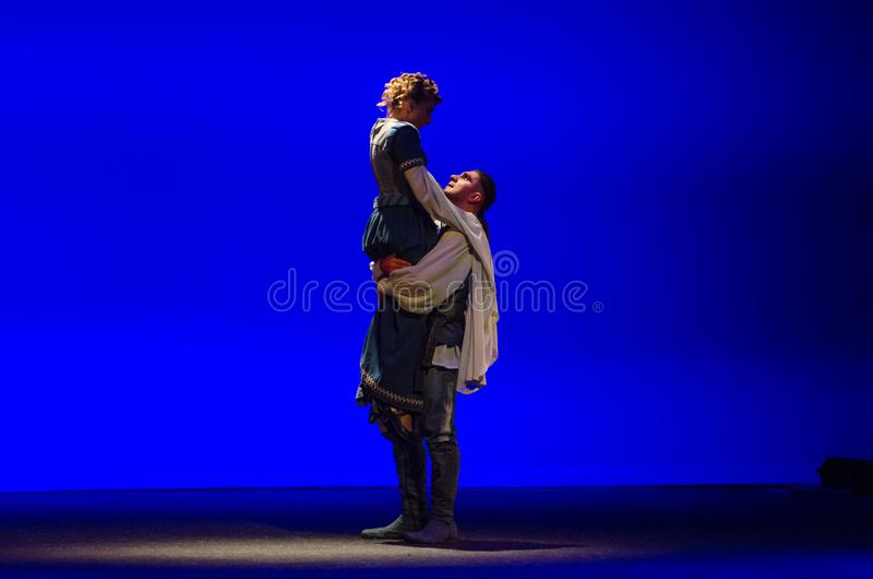 The Comedy of Errors. DNIPRO, UKRAINE - SEPTEMBER 30, 2017: The Comedy of Errors by William Shakespeare performed by members of the Chernihiv Regional Academic stock images