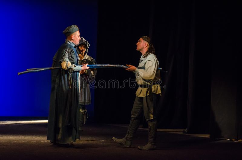 The Comedy of Errors. DNIPRO, UKRAINE - SEPTEMBER 30, 2017: The Comedy of Errors by William Shakespeare performed by members of the Chernihiv Regional Academic royalty free stock images