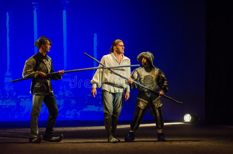 The Comedy of Errors. DNIPRO, UKRAINE - SEPTEMBER 30, 2017: The Comedy of Errors by William Shakespeare performed by members of the Chernihiv Regional Academic stock photography