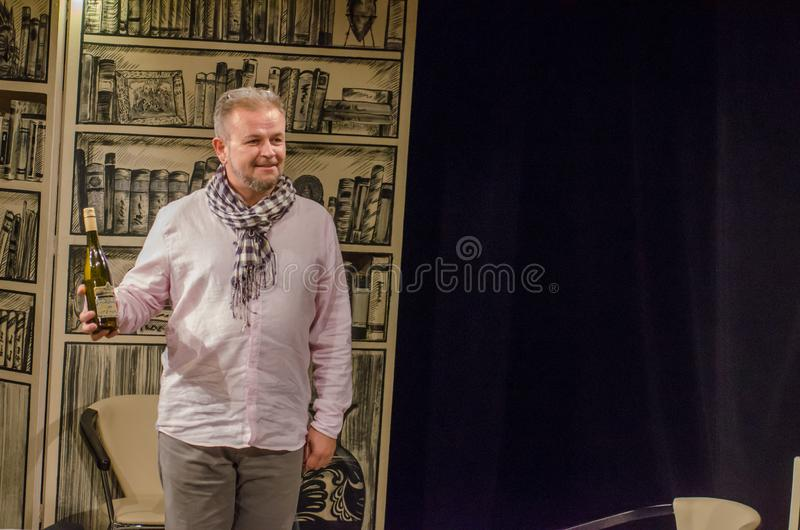 Comedy Name. DNIPRO, UKRAINE - OCTOBER 1, 2018: Comedy Name performed by members of the Dnipro Youth Theatre VIRYMO stock image