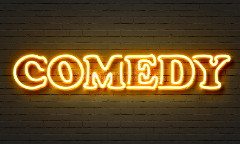 Comedy neon sign. On brick wall background vector illustration