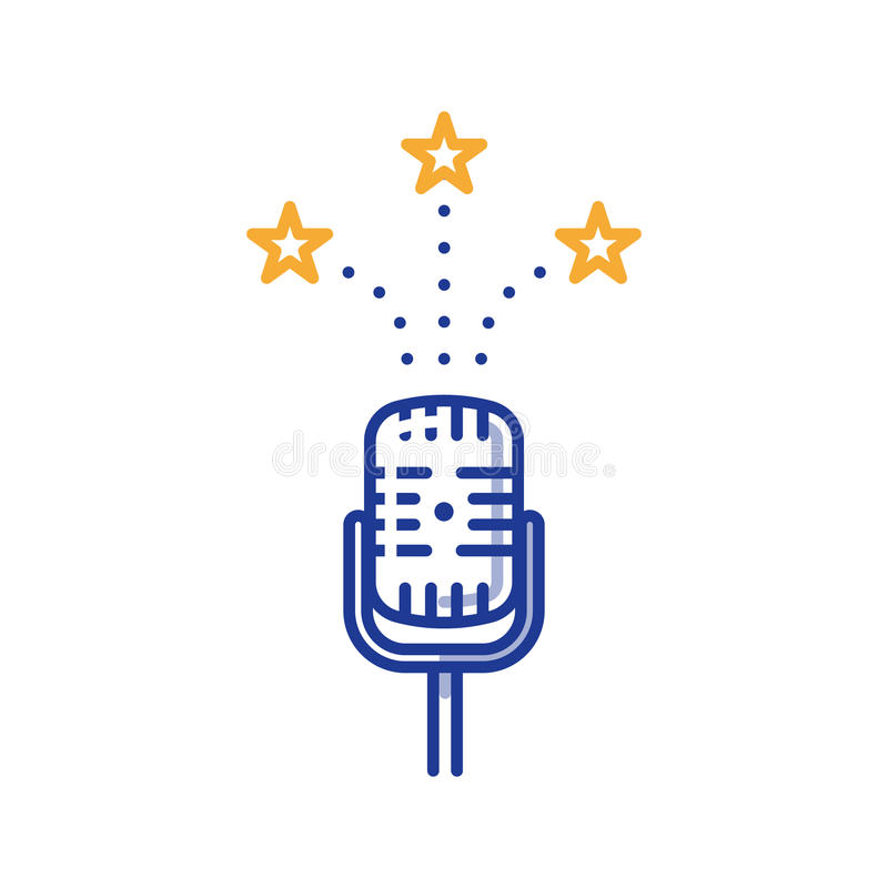 Comedy show microphone, entertainment podcast, broadcasting concept. Podcasting and broadcasting concept, comedy show, stage performance microphone, vector line vector illustration