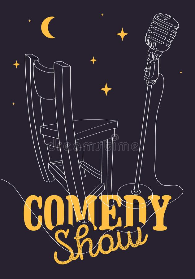 Comedy Show Poster With Bar Chair And Microphone Vector Image vector illustration
