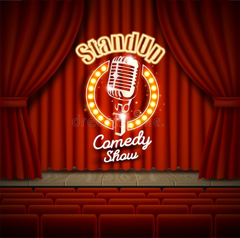 Comedy show theater scene with red curtains vector realistic illustration stock illustration