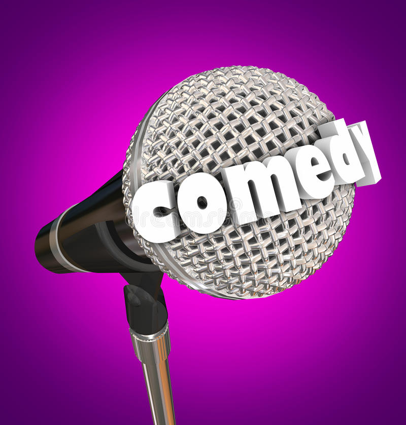 Comedy Stand Up Comic Performer Microphone. Comedy word in 3d letters on a microphone for a stand-up comic or performer vector illustration