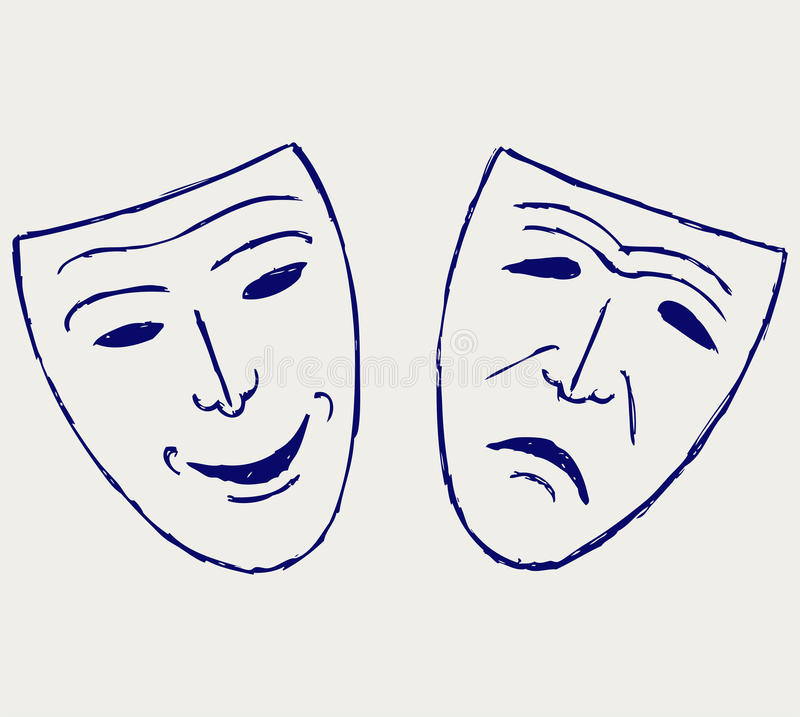 Download Comedy-tragedy Theater Masks Stock Vector - Illustration of acting, ancient: 26595728