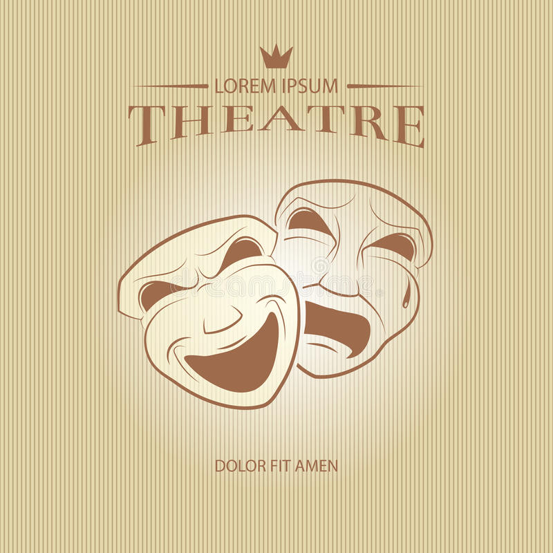 Comedy And Tragedy Theatrical Masks Stock Vector - Illustration of ...