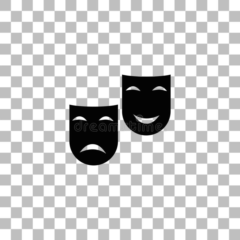 Comedy and tragedy theatrical masks icon flat royalty free illustration