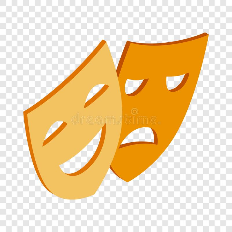 Comedy and tragedy theatrical masks isometric icon vector illustration