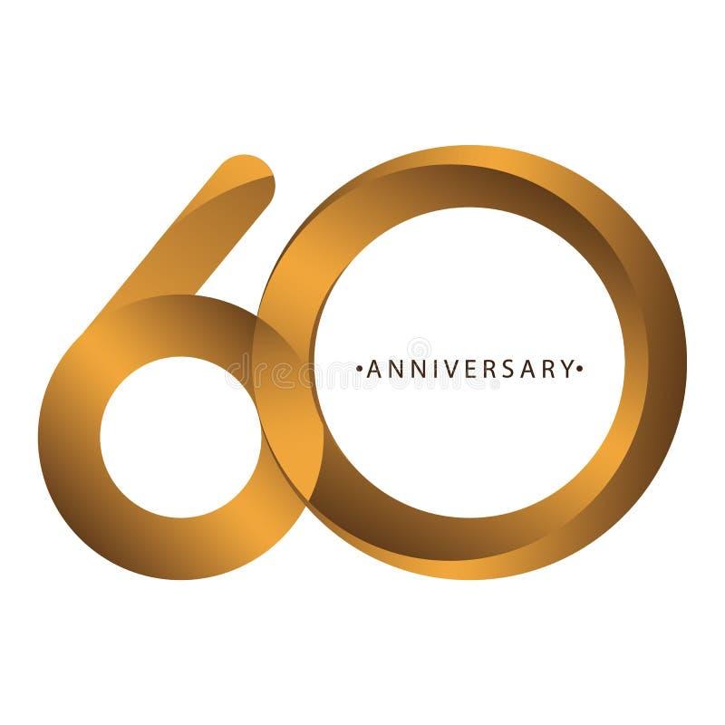 Comemoração, aniversário aniversário do ano do número do 60th, aniversário Marrom luxuoso do ouro do tom do duo ilustração do vetor
