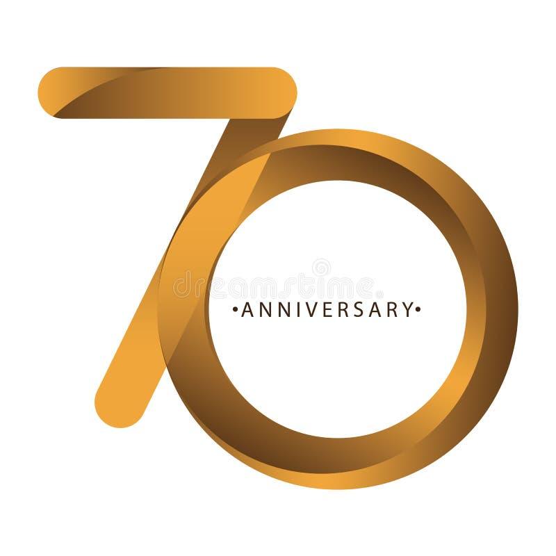 Comemoração, aniversário aniversário do ano do número do 70th, aniversário Marrom luxuoso do ouro do tom do duo ilustração stock