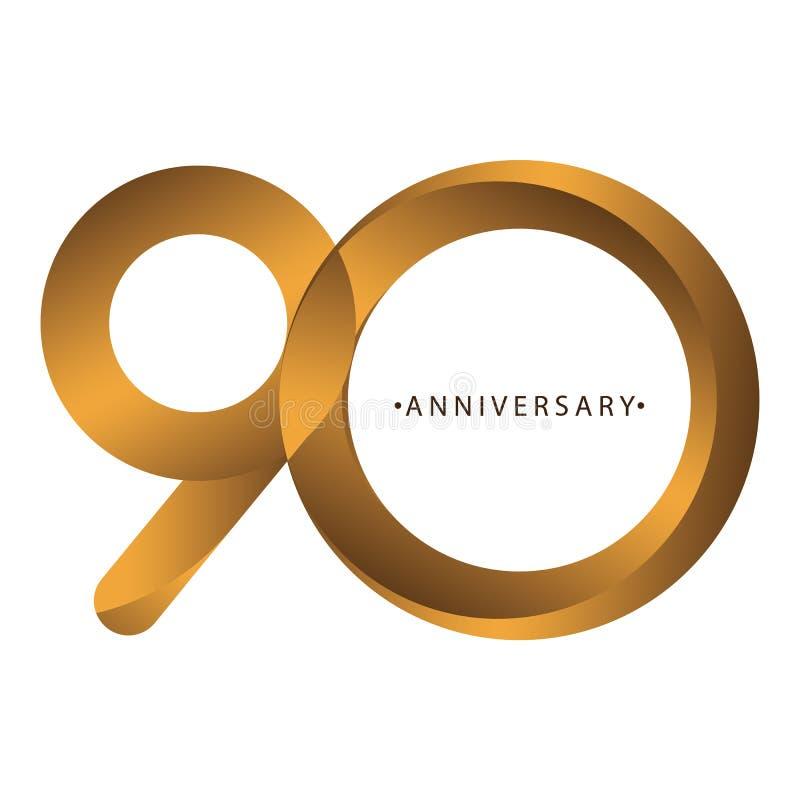 Comemoração, aniversário aniversário do ano do número do 90th, aniversário Marrom luxuoso do ouro do tom do duo ilustração stock