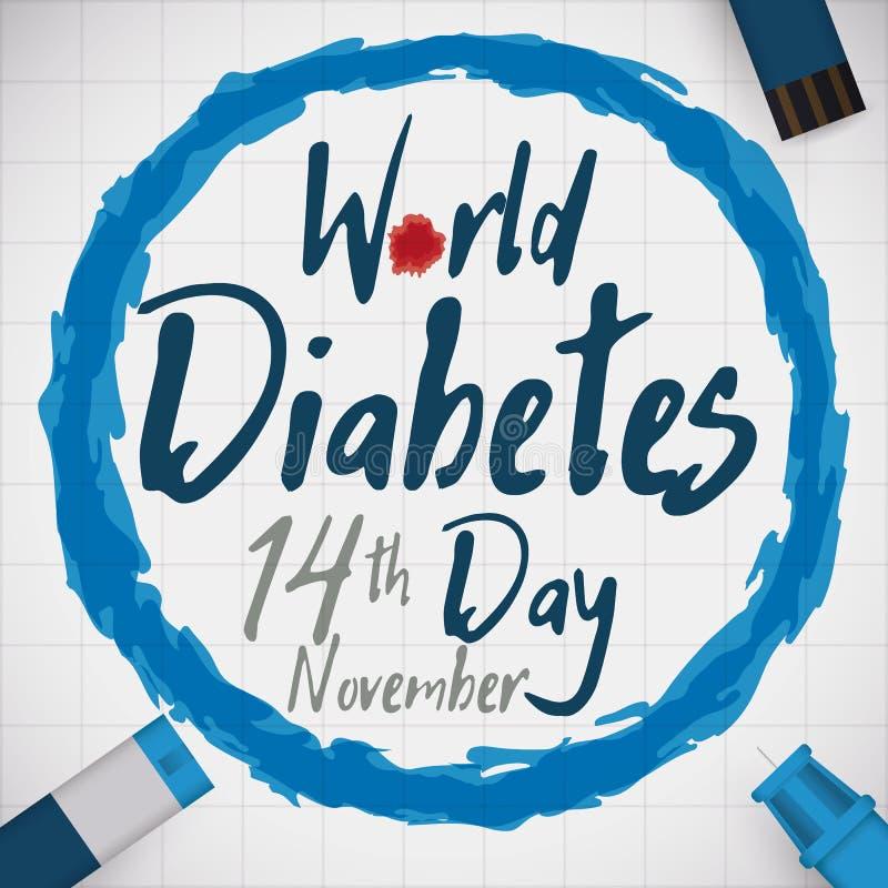 Comemoração do dia com as ferramentas do controle da glicose, ilustração do diabetes do mundo do vetor ilustração royalty free