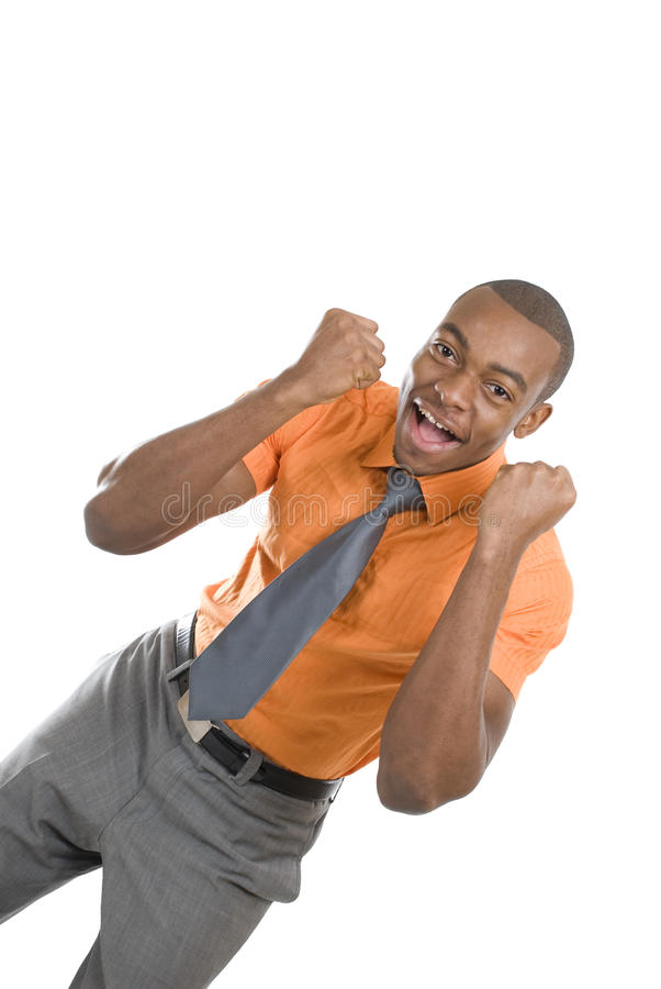 Comemoração Excited do homem de negócio do americano africano fotografia de stock royalty free